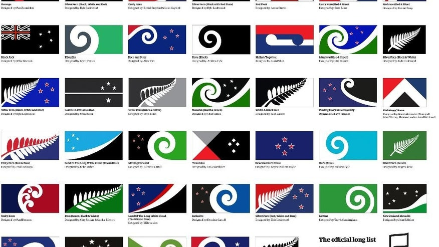 This Aug. 11, 2015, image released by the New Zealand Flag Consideration Project shows 40 designs being considered as the new flag for New Zealand in Wellington, New Zealand. New Zealand is considering changing its flag. The public was encouraged to come up with ideas, and submitted over 10,000 designs. A government-appointed panel has winnowed those down to 40 finalists. (New Zealand Flag Consideration Project via AP)