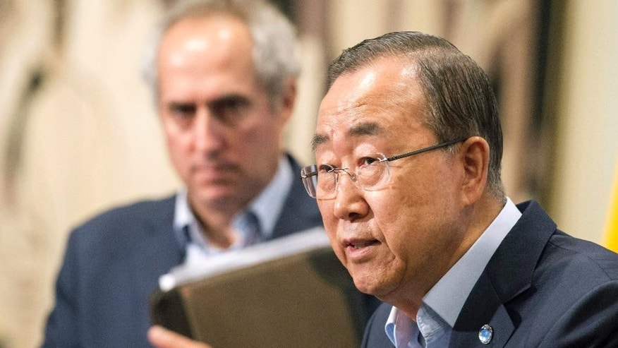 In this photo provided by the United Nations, United Nations Secretary General Ban Ki-moon addresses the media outside the Security Council chambers at U.N. Headquarters, Wednesday, Aug. 12, 2015, where he announced the firing of the head of the U.N. peacekeeping mission in the Central African Republic. Babacar Gaye, of Senegal, was terminated over the force's handling of dozens of sexual and other misconduct allegations, including rape and killing, in the year and a half of its existence. (Eskinder Debebe/The United Nations via AP)