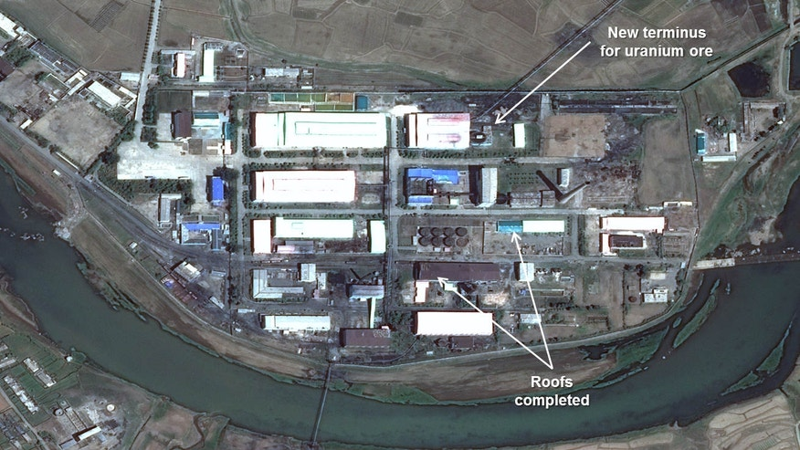 This image provided by the U.S.-Korea Institute at the Johns Hopkins School of Advanced International Studies via 38 North and via a satellite image from Centre National d'Études Spatiales, shows a satellite image dated May 16, 2015, of Pyongsan Uranium Concentration Plant near what is believed to be North Korea's largest uranium mine at the southern site of Pyongsan.