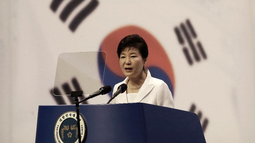 South Korean President Park Geun-hye delivers a speech during a ceremony to celebrate Korean Liberation Day from Japanese colonial rule in 1945, at Seong Cultural Center in Seoul, South Korea, Saturday, Aug. 15, 2015. (AP Photo/Ahn Young-joon)