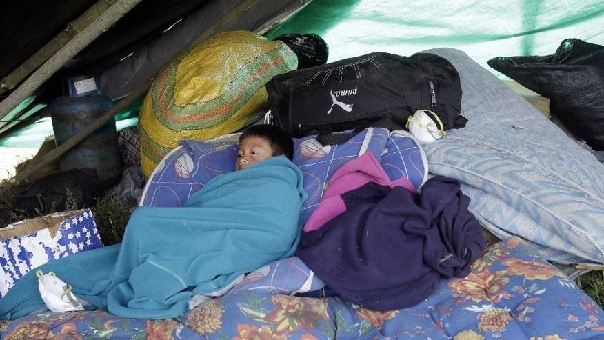 A boy rests on a pile of his family's belongings while they set up camp alongside a road after evacuating their homes fearing a volcanic landslide from the nearby Cotopaxi volcano, pictured in background, which has blanketed nearby villages in ash, in El Chasqui, Ecuador, Saturday, Aug. 15, 2015. Four blasts inside the volcano sent ash shooting more than two miles in the sky Friday, coating highways, homes and cars just south of Ecuador's capital with a fine gray powder. Cotopaxi is considered one of the world's most dangerous volcanoes due to a glacial cover that makes it prone to fast-moving volcanic rock and mud flows, or lahares, and its proximity to a heavily populated area. (AP Photo/Dolores Ochoa)