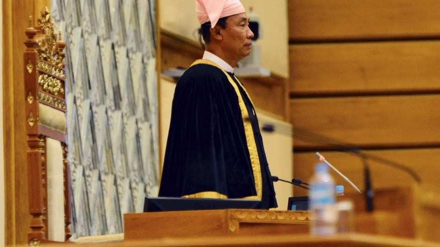 Myanmar Lower House Speaker Shwe Mann arrives to attend a regular session at Parliament in Naypyitaw, Myanmar Tuesday, Aug. 18, 2015. Parliament has reopened for its final session before Myanmar's nationwide election, with a spotlight on the influential speaker following his violent ouster as head of the military-backed ruling party.(AP Photo/Khin Maung Win)