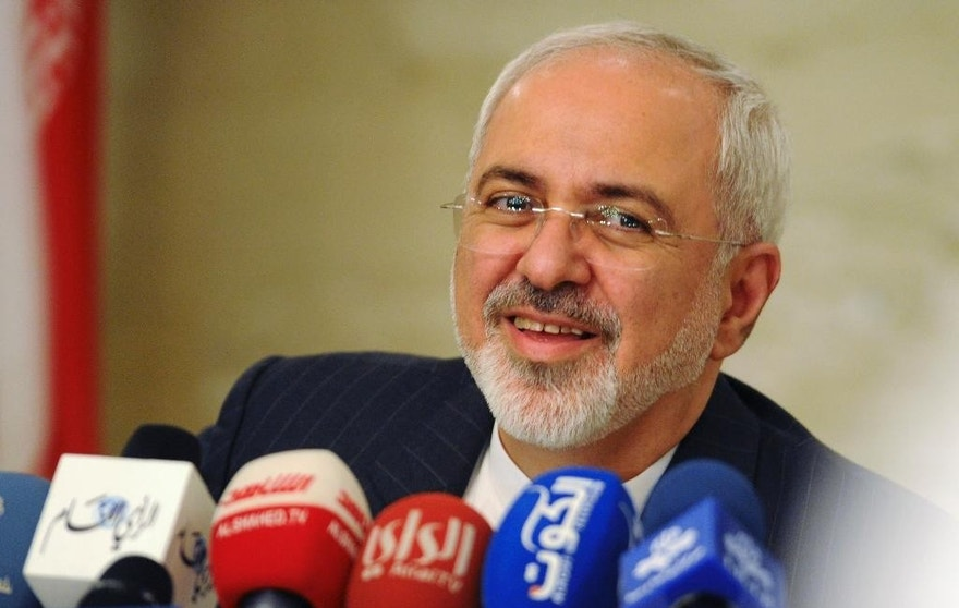Iranian Foreign Minister Mohammad Javad Zarif speaks at a press conference in Kuwait City.