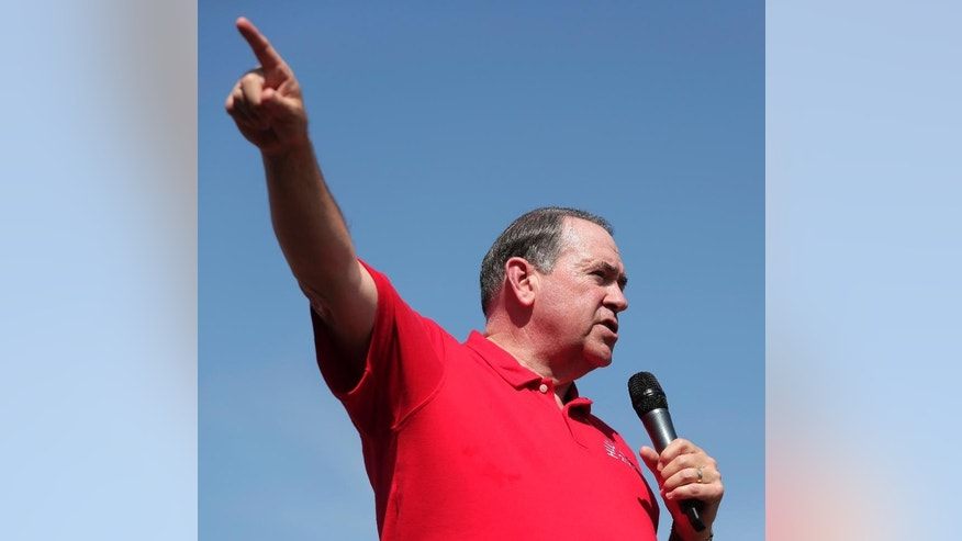 Republican presidential candidate, former Arkansas Gov. Mike Huckabee speaks at the Iowa State Fair Thursday, Aug. 13, 2015, in Des Moines. (AP Photo/Charlie Riedel)
