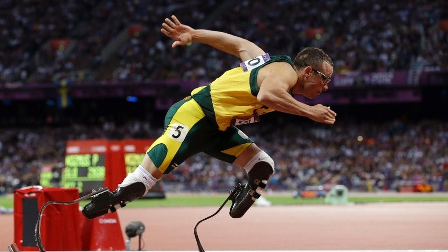 Aug. 5, 2014: South Africa's Oscar Pistorius starts in the men's 400-meter semifinal during the athletics in the Olympic Stadium at the 2012 Summer Olympics, London.