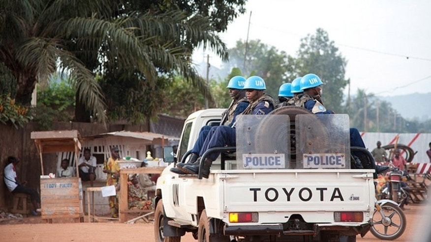 This undated filed photo shows MINUSCA, the UN Multidimensional Integrated Stabilization Mission in the Central African Republic (CAR), on patrol in the capital Bangui. (UN photo)
