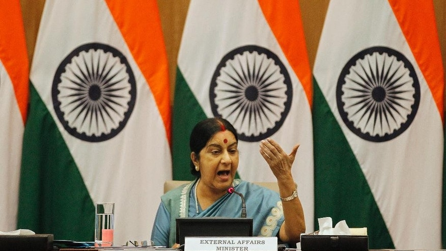 "India's External Affairs Minister Sushma Swaraj answers questions to journalists during a press conference in New Delhi, India, Saturday, Aug. 22, 2015. Swaraj said India will go ahead with talks between Indian and Pakistani security advisers only if  ""Pakistan limits the talks to the question of ending terrorism and violence.''  (AP Photo/Altaf Qadri)"