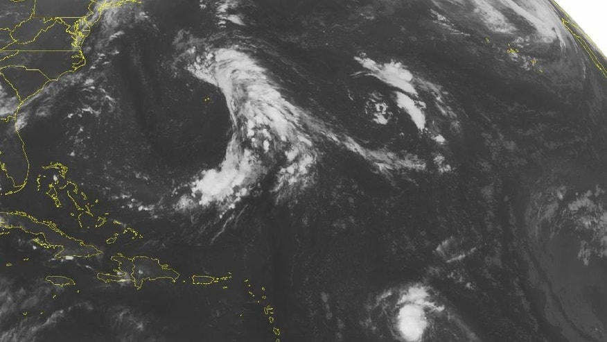 This NOAA satellite image taken Sunday, Aug. 23, 2015, at 12:45 a.m. EDT shows Tropical Storm Danny moving West at 15 mph towards the Lesser Antilles. Though Danny is quickly weakening as it is entering a region with high wind shear, it is continuing to produce winds at this time around 60 mph. A few thunderstorms have also developed along Central Cuba and Hispaniola due to some instability from an upper level trough. (Weather Underground via AP)
