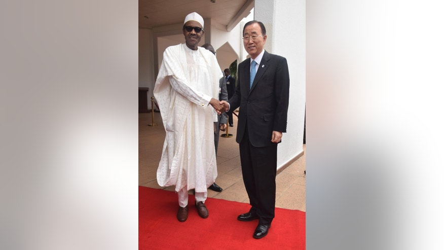 Nigeria President Muhammadu Buhari, left, meets with U.N Secretary General Ban Ki-Moon, at the Presidential Villa  in Abuja Nigeria Monday, Aug. 24, 2015. U.N. Secretary-General Ban Ki-moon paid tribute Monday to 23 colleagues killed four years ago in a Boko Haram car bombing at his organization's Nigeria headquarters. Ban  promised solidarity in the new Nigerian leader's fight against insecurity, unemployment and corruption. (AP Photo/Azeez Akunleyan)