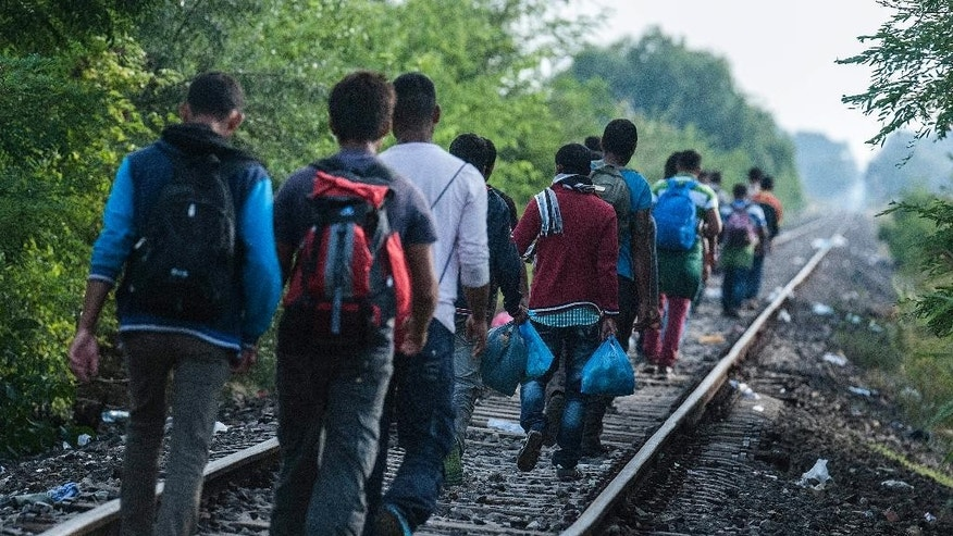 Illegal migrants walk near  the railway crossing at the border between Hungary and Serbia near Roszke, 180 km southeast from Budapest, Hungary, Tuesday Aug. 25, 2015.  (Sandor Ujvari/MTI via AP)