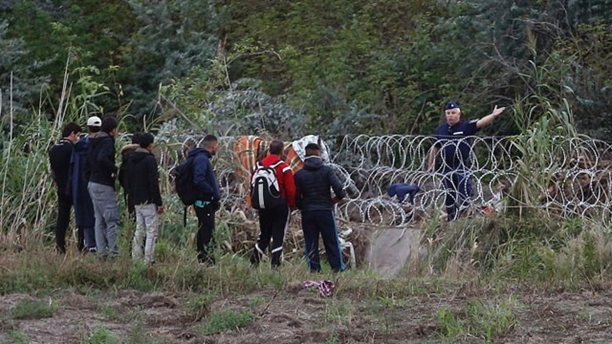 Aug. 26, 2015: Hungarian border police officer directs migrants away from the border fence close to the Serbian border with Hungary, near Horgos, Serbia. (AP Photo/Darko Vojinovic)