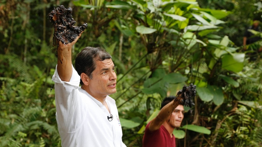 FILE - In this Sept. 17, 2013, file photo, Ecuador's President Rafael Correa shows his oil covered glove at the site of the Aguarico 4 oil field in Ecuador. President  Correa explained on Tuesday, Aug. 25, 2015, that the country is now producing oil at a loss. (AP Photo/Dolores Ochoa, File)
