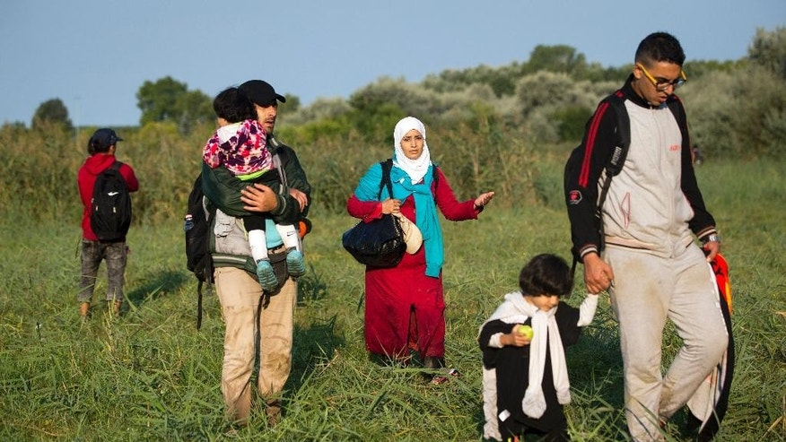 Refugees walk through a field after crossing from Serbia to Hungary, in Roszke, Thursday, Aug. 27, 2015. Over 10,000 migrants, including many women with babies and small children, have crossed into Serbia over the past few days and headed toward Hungary. (AP Photo/Darko Bandic)