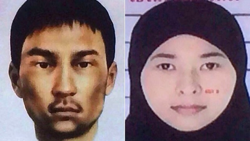 Aug. 31, 2015: These images show two suspects wanted by Thai police in connection with this month's deadly bombing in Bangkok. Police say the unidentified man was living in an apartment raided by authorities in Min Buri, in Bangkok's outskirts, where police found fertilizer, gun powder, digital clocks and remote-controlled cars whose parts can be used for detonation. Authorities say the woman at right, Wanna Suansun, was renting the apartment. (National Council for Peace and Order via AP)