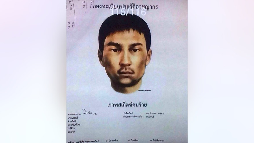 "This image released Monday, Aug. 31, 2015, by the National Council for Peace and Order (NCPO) shows a sketch of an unidentified man who police say was living in the second apartment which was raided by authorities in Min Buri, in Bangkok's outskirts, and where police found fertilizer, gun powder, digital clocks and remote-controlled cars whose parts can be used for detonation. Thai police said Monday they were seeking two new suspects — a Thai woman and a foreign man of unknown nationality — in the widening investigation into Bangkok's deadly bombing two weeks ago. Words in Thai above say ""Criminal Records Department"" and ""Sketch of Wanted Person"". (National Council for Peace and Order via AP)"