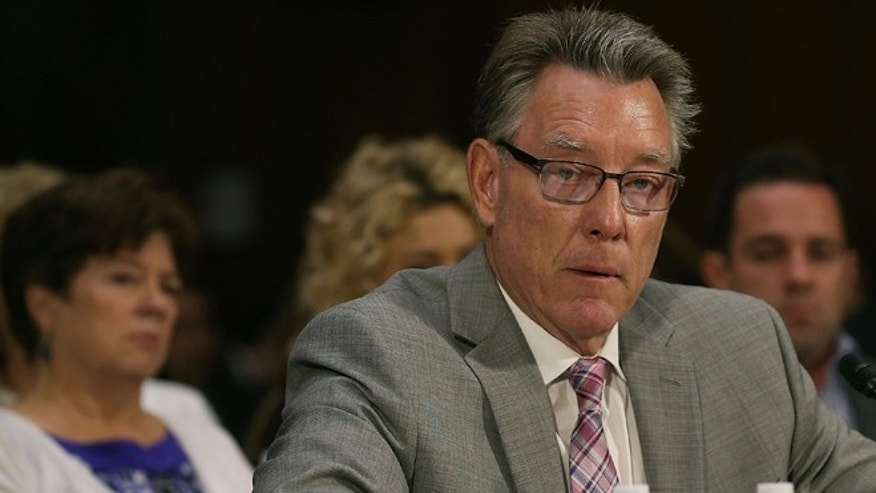 WASHINGTON, DC - JULY 21:   Jim Steinle, father of  Kathryn Steinle who was killed by an undocumented immigrant in San Francisco, testifies during a Senate Judiciary Committee hearing on Capitol Hill, July 21, 2015, in Washington, D.C. He is flanked by Kathryn's mother, Liz Sullivan (left), and her brother Brad Steinle.   (Photo by Mark Wilson/Getty Images)