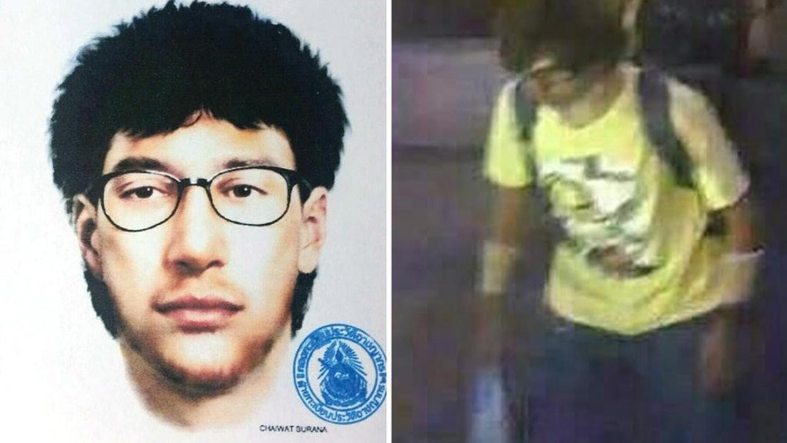 This combination of file images released by the Royal Thai Police shows a sketch and a closed circuit television image of the main suspect in a bombing that killed a number of people at the Erawan shrine in downtown Bangkok, on Monday, Aug. 17, 2015. Thailand's prime minister said Tuesday, Sept. 1, 2015, authorities have arrested a man they believe is the main suspect in a bombing at a shrine in central Bangkok two weeks ago that killed 20 people. (Royal Thai Police via AP)