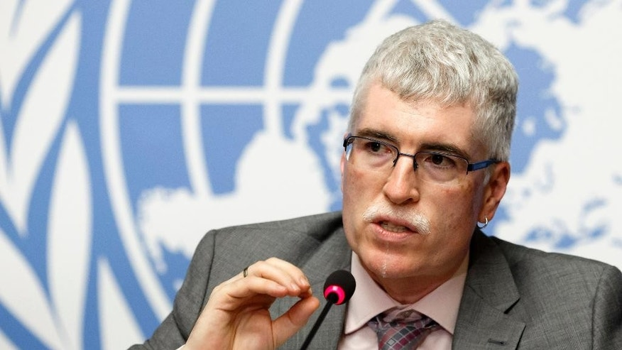 Maxx Dilley, Director Climate Prediction and Adaptation Branch of WMO (World Meteorological Organization), informs   the media about   WMO's El Nino Update during a press conference, at the European headquarters of the United Nations in Geneva, Switzerland, Tuesday, Sept. 1, 2015. ( (Salvatore Di Nolfi/Keystone via AP)
