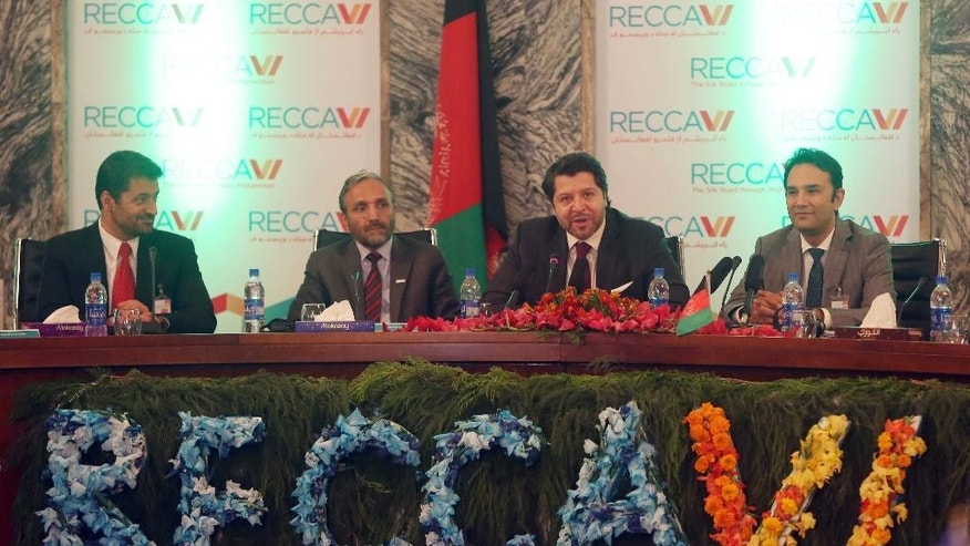 Deputy Foreign Minister Hekmat Khalil Karzai, second right, talks during the opening ceremony of the 6th Regional Economic Cooperation Conference of Afghanistan (RECCA) at the foreign affairs ministry in Kabul, Afghanistan, Thursday, Sept. 3, 2015. Afghanistan has opened the Regional Economic Cooperation Conference in the capital, Kabul, where officials from more than 30 nations and 40 international organizations are gathering to discuss the war-torn country's future. (AP Photo/Massoud Hossaini)