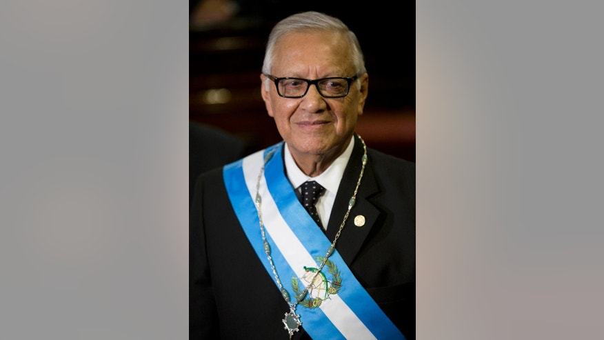 Guatemala's new President Alejandro Maldonado attends his swearing-in ceremony before Congress in Guatemala City, Thursday, Sept. 3, 2015. Maldonado was sworn in as Guatemala's new president amid a corruption scandal that has caused a national political crisis. The conservative former judge will serve out the term of form President Otto Perez Molina, who resigned late Wednesday after a judge issued an order for this detention. Prosecutors accuse the ex-president of leading a customs fraud ring.  (AP Photo/Moises Castillo)