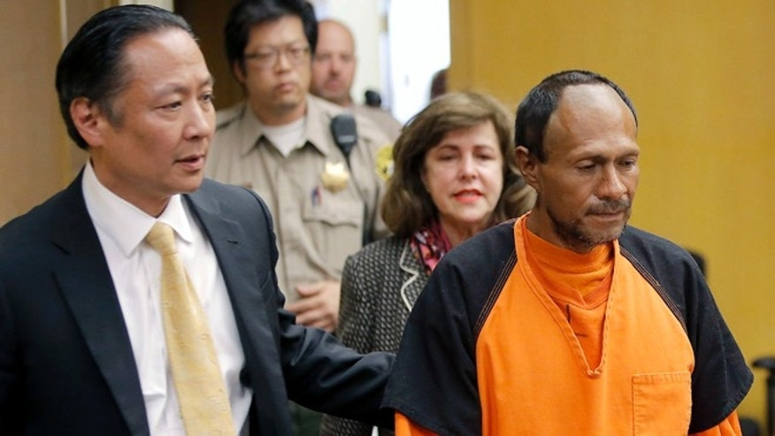 "FILE - In this July 7, 2015 file photo, Juan Francisco Lopez-Sanchez, right, is lead into the courtroom by San Francisco Public Defender Jeff Adachi, left, and Assistant District Attorney Diana Garciaor, center, for his arraignment at the Hall of Justice in San Francisco. The parents of Kathryn Steinle filed a wrongful death claim Tuesday, Sept. 1, 2015 alleging that the San Francisco Sheriff's Department is to blame for releasing an illegal immigrant from jail despite a federal ""detainer"" request to keep in custody for possible deportation proceedings. A claim is usually a precursor to a lawsuit. (Michael Macor/San Francisco Chronicle via AP, Pool, File)"
