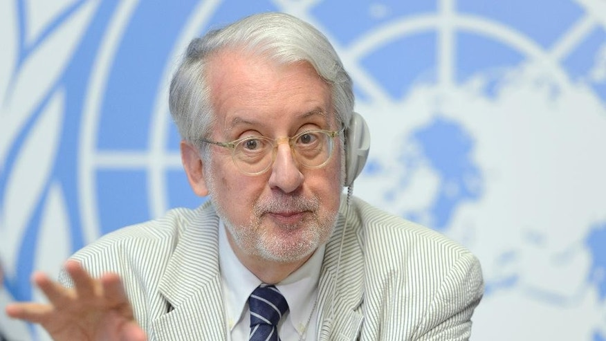 Paulo Pinheiro, Chairperson/ Member Commission of Inquiry on the Syrian Arab Republic, speaks during a press conference about the launch of latest report by the Commission  to the Human Rights Council, at the European headquarters of the United Nations, in Geneva, Switzerland, Thursday, Sept, 3, 2015.  (Martial Trezzini/Keystone via AP)