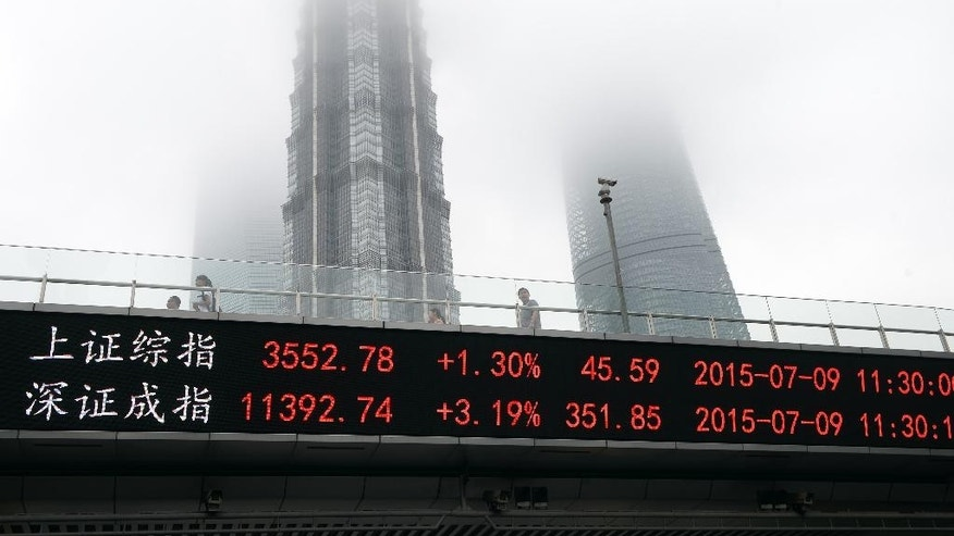 In this July 9, 2015 photo, people walk on a footbridge with an electronic stock ticker showing real time stock market indices at Lujiazhui Financial and Trade Zone in Shanghai. Beijing's scramble to put a floor under free-falling share prices came at a cost China has yet to tally. The boom and bust passed so fast it had little impact on consumer spending. But on top of the public money plowed into buying shares, the intervention disrupted fundraising for small companies and set back efforts to make the stock market a tool for economic reform. (Chinatopix Via AP) CHINA OUT