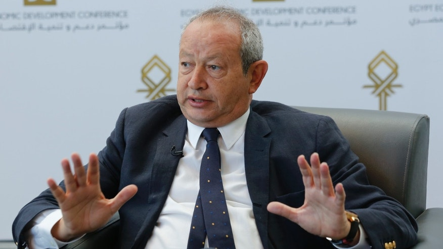March 15, 2015 - FILE photo of Egyptian billionaire Naguib Sawiris in Sharm el-Sheikh, south of Cairo. Sawiris has offered to buy an island off Italy or Greece and develop it to help Mideast refugees.