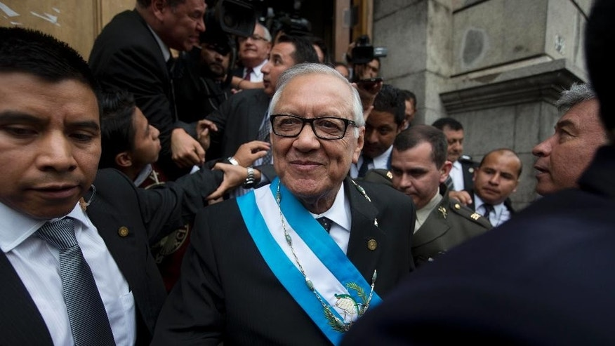 "Guatemala's former president Otto Perez Molina makes his first statement in court in Guatemala City, Friday, Sept. 4, 2015, the day after his resignation first night as an ex-president in military custody. ""The first thing I want to deny, I don't belong to 'la linea,'"" Perez Molina said, referring to a fraud scheme. The court is considering allegations that the former leader was involved in a scheme in which businesspeople paid bribes to avoid import duties through Guatemala's customs agency.  (AP Photo/Luis Soto)"