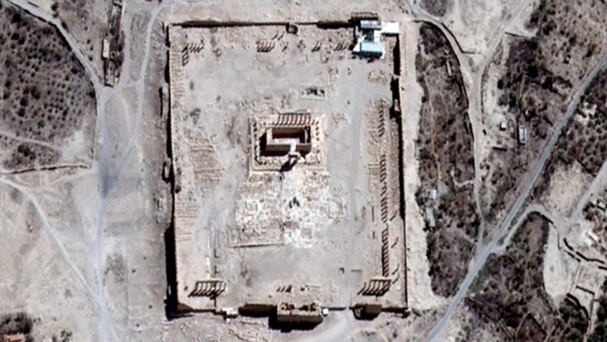 This Thursday, Aug. 27, 2015 satellite image provided by UNITAR-UNOSAT shows the main building of the ancient Temple of Bel in the Palmyra, Syria. The main building has been destroyed, a United Nations agency said on Monday, Aug. 31, 2015. The image was taken four days before a massive explosion was set off near the 2,000-year-old temple in the city occupied by Islamic State militants. (UrtheCast, UNITAR-UNOSAT via AP)