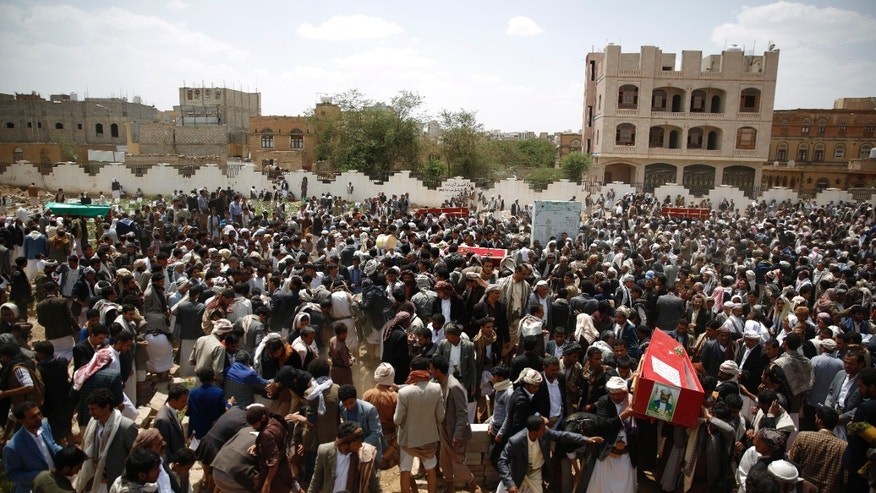 Sept. 4, 2015 - Shiite rebels known as Houthis bury fellow Houthis, killed in a suicide bomb attack, at a funeral in Sanaa, Yemen. 22 members of the United Arab Emirates' military were killed while taking part in Saudi-led operations in Yemen against Shiite rebels known as Houthis, the official news agency WAM said Friday, the largest single UAE military loss to date in the war.