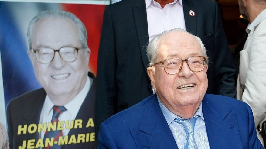 Jean-Marie le Pen, former head of the far-right party National Front, smiles during a press conference in Marseille, southern France, Saturday, Sep. 5, 2015. The far-right National Front expelled Jean-Marie Le Pen from the party he founded and his daughter, the party's new leader, had hoped to use the summer meeting as a way to move on from the family feud. (AP Photo/Claude Paris)