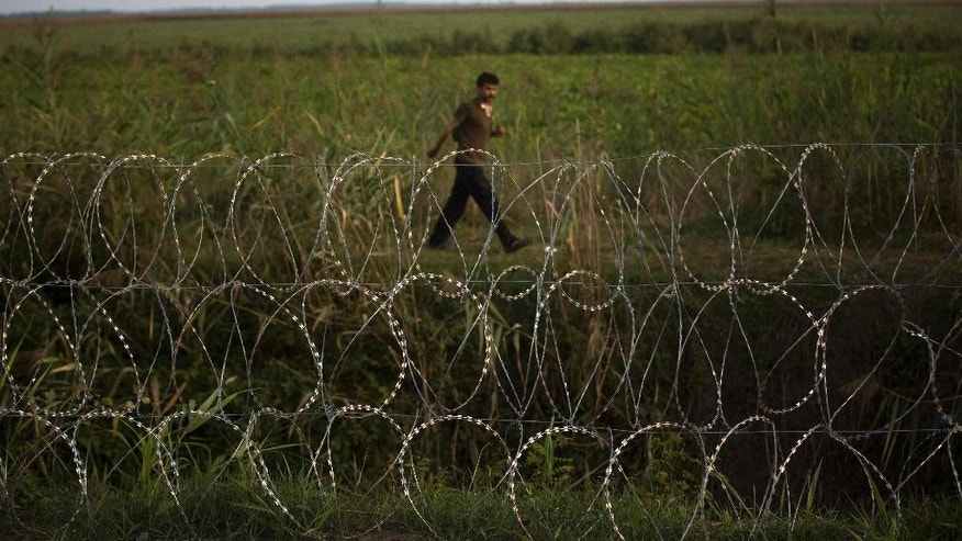 FILE - In this Thursday, Sept. 3, 2015 file photo, a migrant looks at the barbed wire fence from the Serbian side of the border to the Hungarian town of Roszke. A Pakistani identity card in the bushes, a Bangladeshi one in a cornfield. Documents scattered only meters from Serbia's border with Hungary provide evidence that many of the migrants flooding Europe to escape war or poverty are scrapping their true nationalities to improve their chances of asylum - many of them claiming to be Syrian. (AP Photo/Santi Palacios, file)