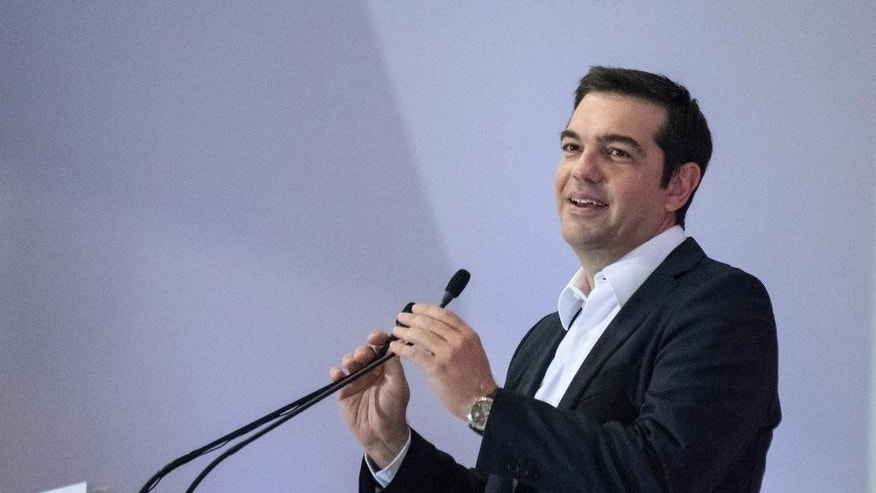 Alexis Tsipras, leader of left-wing Syriza party and former prime minister, delivers a pre-election speech at the 80th Thessaloniki International Trade Fair (TIF) in the northern Greek port city of Thessaloniki, Sunday, Sept. 6, 2015. Greece heads to general parliamentary elections on Sept. 20, highlighting Greece's need to keep its European course.  (AP Photo/Giannis Papanikos)