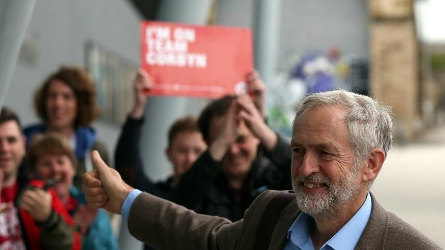Labour's Jeremy Corbyn arrives to take part in a Labour party leadership final debate, at the Sage in Gateshead, England, Thursday, Sept. 3, 2015. (AP Photo/Scott Heppell)