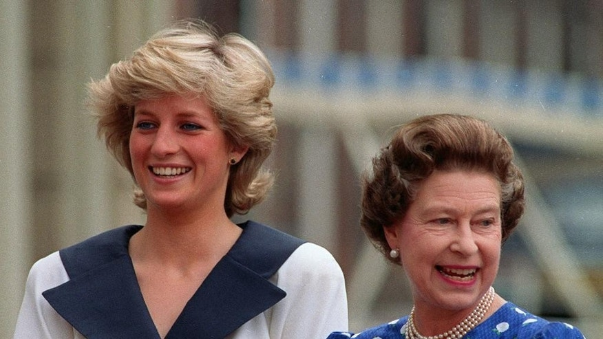 FILE - This is an Aug. 4, 1987  file photo of Diana, Princess of Wales, left, and Britain's Queen Elizabeth II as they smile to well-wishers outside Clarence House in London. (AP Photo/Martin Cleaver, File)