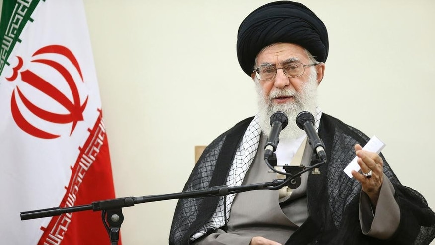 "In this picture released by the official website of the office of the Iranian supreme leader, Supreme Leader Ayatollah Ali Khamenei delivers a speech during a meeting in Tehran, Wednesday, Sept. 9, 2015.  Khamenei said Wednesday that his country will not enter into talks with the United States outside of the nuclear deal with world powers as Washington could use other negotiations to ""penetrate"" the Islamic Republic. Khamenei's comments, published on his website, came as enough U.S. lawmakers now support the nuclear deal to block passage of a resolution of disapproval. (Office of the Iranian Supreme Leader via AP)"