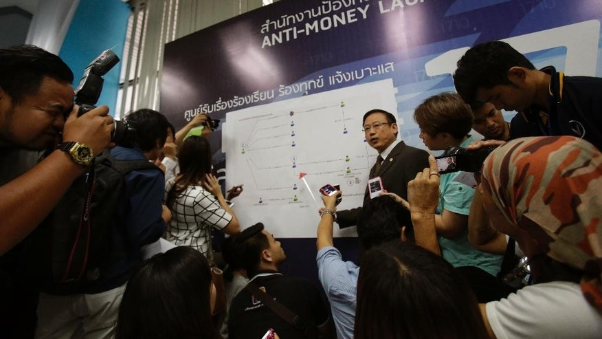 Thailand's Anti-Money Laundering Office Secretary General Seehanart Prayoonrat, center right, displays a chart of money flows of people suspected of links to the Aug. 17 bombing in the Thai capital Bangkok that killed 20 people during a press conference in Bangkok ,Thailand. Friday, Sept. 11, 2015. He said the money came from two foreign countries, but declined to name them. Acknowledging that some of the money could be for personal use, he said his agency had evidence that some of it had been used to buy materials used in the bombing, mostly at electricity shops. (AP Photo/Sakchai Lalit)