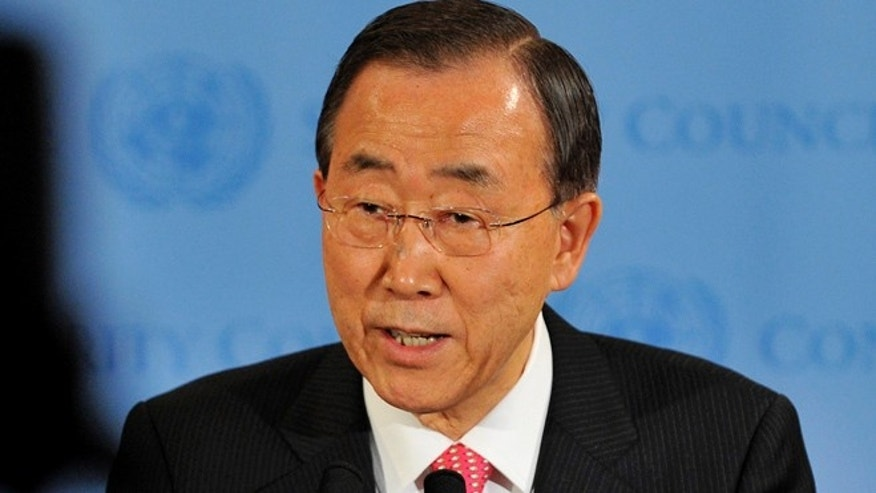 March 24, 2011: United Nations Secretary General Ban Ki-Moon speaking after a Security Council meeting.