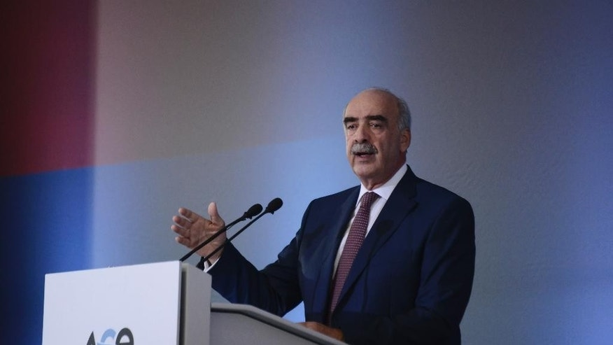 Vangelis Meimarakis, leader of conservative New Democracy party, delivers a pre-election speech in the northern Greek city of Thessaloniki, Greece, Saturday, Sept. 12, 2015. An opinion poll indicates the radical left Syriza party of former prime minister Tsipras is pulling ahead of the conservative main opposition party in the run-up to Greece's snap general election on Sept. 20.(AP Photo/Giannis Papanikos)