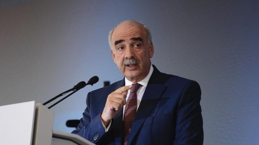 Vangelis Meimarakis, leader of conservative New Democracy party, delivers a pre-election speech in the northern Greek city of Thessaloniki, Greece, Saturday, Sept. 12, 2015. An opinion poll indicates the radical left Syriza party of former prime minister Tsipras is pulling ahead of the conservative main opposition party in the run-up to Greece's snap general election on Sept. 20. (AP Photo/Giannis Papanikos)