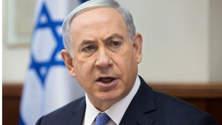 June 7, 2015: Israeli Prime Minister Benjamin Netanyahu attends the weekly cabinet meeting in his Jerusalem office.