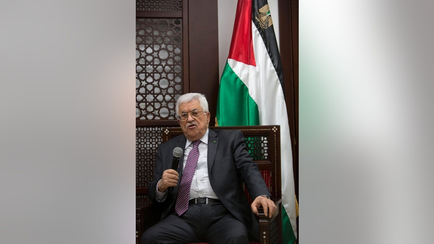Palestinian President Mahmoud Abbas comments, during a meeting with religious and political personalities from Jerusalem, on the ongoing unrest at the Al-Aqsa mosque compound in Jerusalem, in the West Bank city of Ramallah, Wednesday, Sept. 16, 2015. Abbas condemned the clashes in particularly harsh language, insisting that none of Jerusalem's holy sites belonged to Israel. The site is known to Jews as the Temple Mount, site of the two biblical Jewish temples. Muslims revere it as the Noble Sanctuary, where they believe the Prophet Muhammad ascended to heaven.  (AP Photo/Majdi Mohammed)