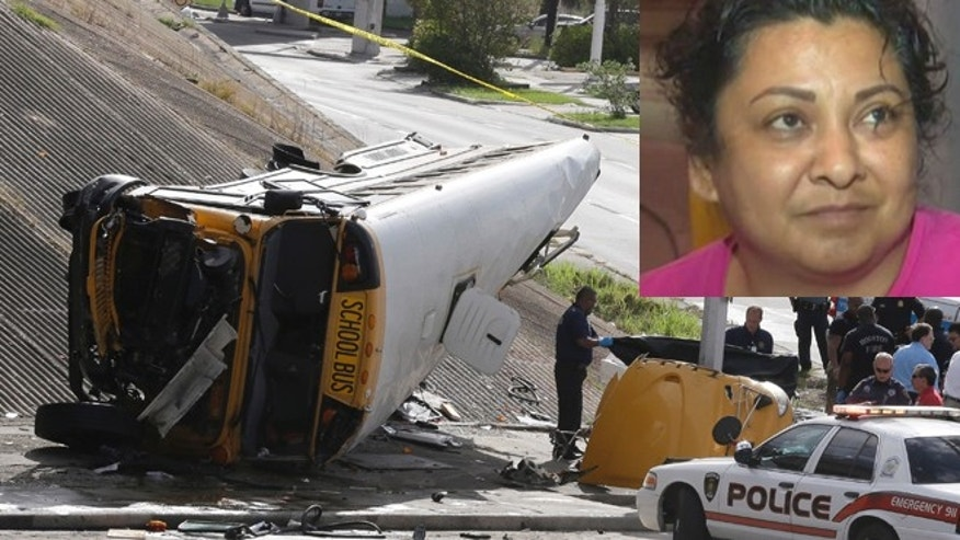 Investigators work around a Houston school bus, left, after it drove off a highway overpass, Tuesday, Sept. 15, 2015, in Houston, killing two students and seriously injuring three other people, police and school officials said. The bus driver, Louisa Pacheco (inset), left the hospital without serious injury. (AP Photo/Pat Sullivan)