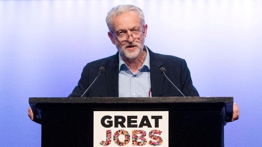Britain's Labour party leader Jeremy Corbyn addresses the Trade Union Congress in Brighton, southern England, Tuesday, Sept. 15, 2015. (Rick Findler/PA Wire via AP) UNITED KINGDOM OUT