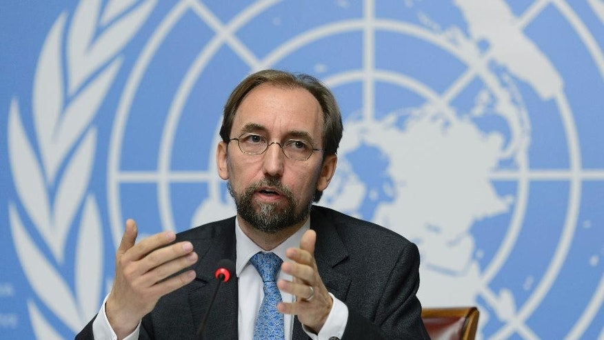 UN High Commissioner for Human Rights, Zeid Raad al-Hussein of Jordan speaks on the UN Human Rights Office report on Sri Lanka during a press conference at the European headquarters of the United Nations, in Geneva, Switzerland, Wednesday, Sept. 16, 2015. Zeid is urging the creation of a special court to look into atrocities committed during Sri Lanka's long civil war, which left tens of thousands dead. (Martial Trezzini/Keystone via AP)