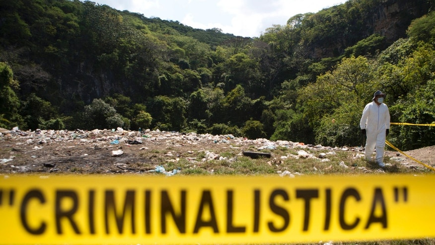 FILE - In this Oct. 28, 2014, file photo, a forensic examiner walks along a garbage-strewn hillside above a ravine where examiners are searching for human remains in densely forested mountains outside Cocula, Guerrero state, Mexico. An independent report released Sunday Sept. 6, 2015 dismantles the Mexican governmentâs investigation into last yearâs disappearance of 43 teachersâ college students, starting with the assertion that the giant funeral pyre in which the attorney general said they were burned to ash beyond identification simply never happened.(AP Photo/Rebecca Blackwell, file)