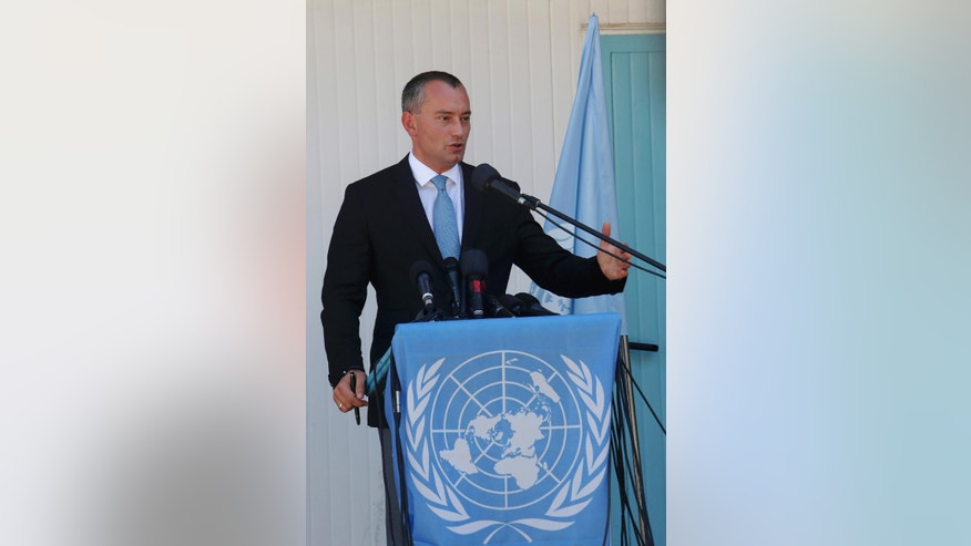 United Nations Special Coordinator for the Middle East Peace Process Nickolay Mladenov, talks during his a press conference in Gaza City, Thursday, Sept. 17, 2015.  The U.N's Mideast envoy has given a rare upbeat assessment in the Gaza Strip, saying that postwar reconstruction is speeding up. Thousands of homes were destroyed or damaged in the 50 days of fighting between Israel and the Hamas militant group last summer. (AP Photo/Adel Hana)