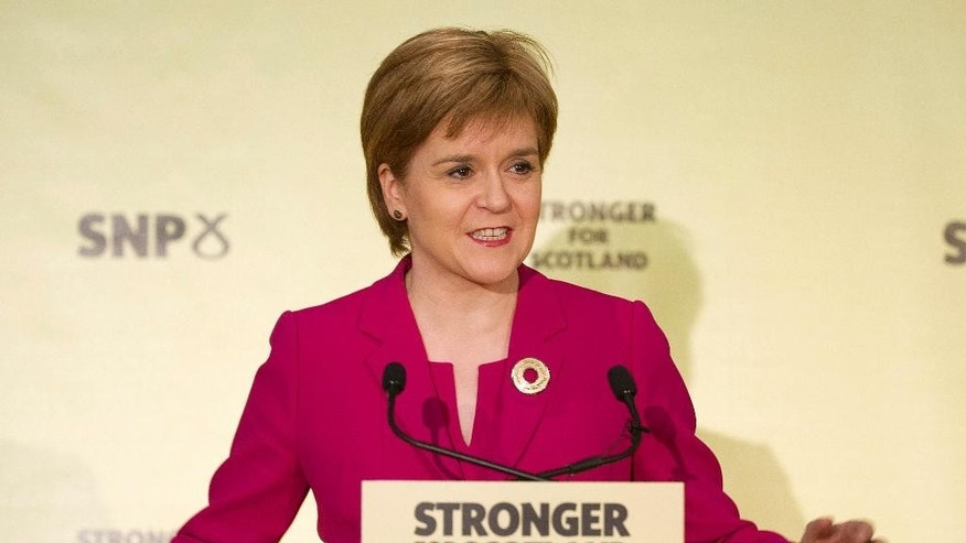 Scotland's First Minister Nicola Sturgeon gives her keynote speech one year on from Scotland's independence referendum at South Hall Complex in Edinburgh, Scotland, Friday Sept. 18, 2015.  A year after Scottish voters chose to remain in the United Kingdom, Scotland's leader says it would be wrong to rule out another independence referendum.  (Lesley Martin/PA via AP) UNITED KINGDOM OUT