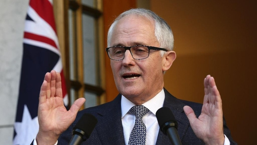 Australia Prime Minister Malcolm Turnbull announces his new cabinet during a press conference at Parliament House in Canberra, Australia, Sunday, Sept. 20, 2015. Turnbull announced sweeping changes to his first Cabinet and promoted more women from two to five, including Australia's first female Defense Minister Marise Payne. (AP Photo/Rob Griffith)